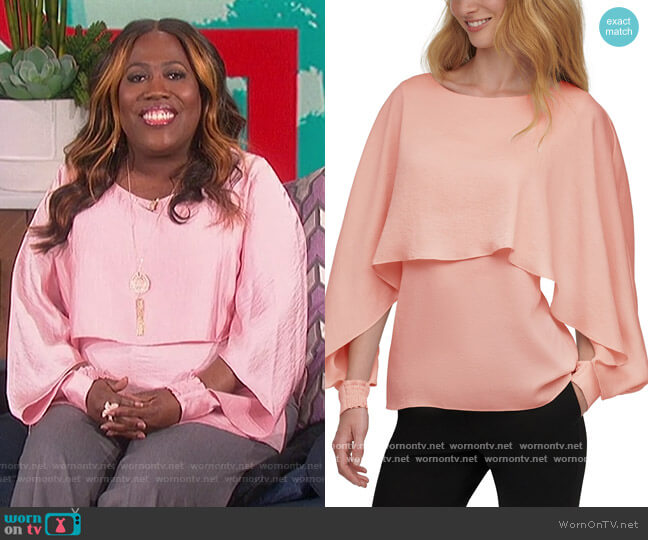 Long-Sleeve Cape Top by DKNY worn by Sheryl Underwood  on The Talk