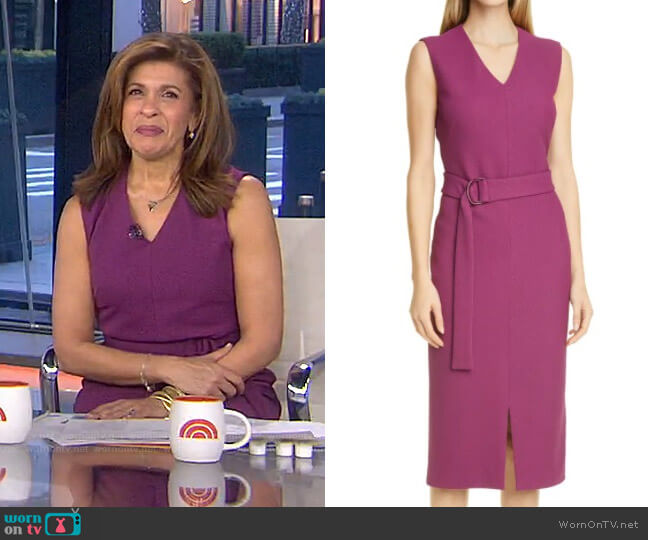 Dadorina Belted Front Slit Sheath Dress by Boss worn by Hoda Kotb  on Today