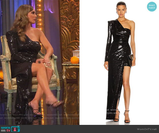 Ruched Asymmetric Sequin Gown by David Koma worn by Kelly Dodd  on The Real Housewives of Orange County