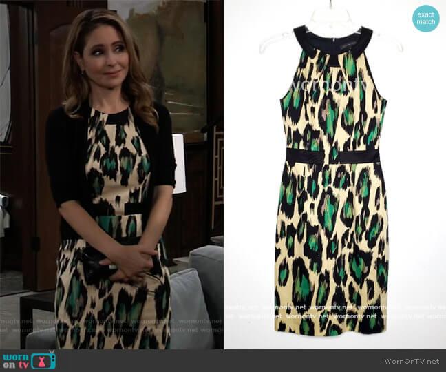 Leopard Print Sheath Dress by David Meister worn by Olivia Falconeri (Lisa Lo Cicero) on General Hospital