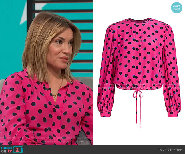 Olina Cropped Polka Dot Blouse by Derek Lam 10 Crosby worn by Kit Hoover  on Access Hollywood