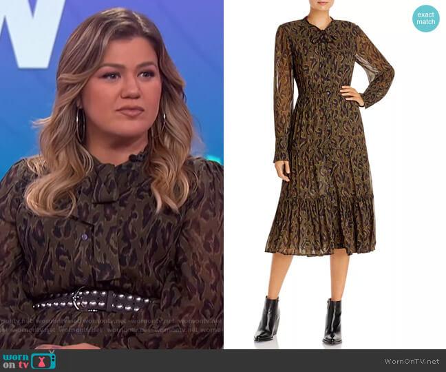 Sammy Printed Midi Dress by Derek Lam 10 Crosby worn by Kelly Clarkson  on The Kelly Clarkson Show