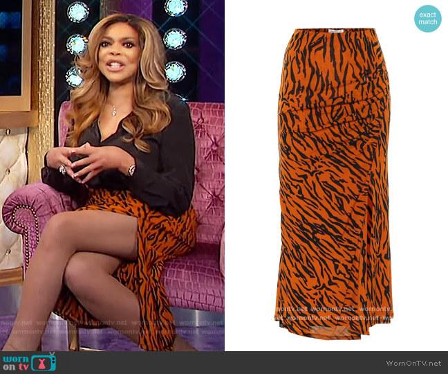 Edna Tiger Print Midi Skirt by Diane von Furstenberg worn by Wendy Williams  on The Wendy Williams Show