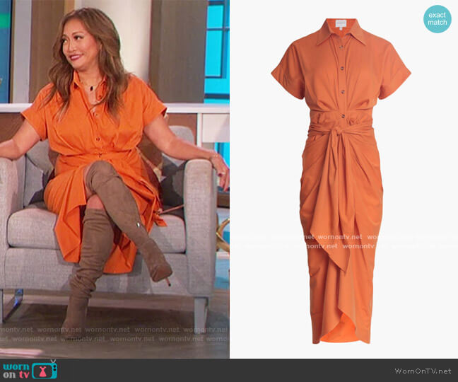 Belted Shirt Dress by Divine Heritage worn by Carrie Inaba  on The Talk