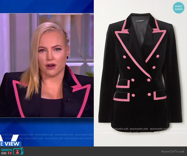 Two-tone double-breasted satin-trimmed velvet blazer by Dolce & Gabbana worn by Meghan McCain  on The View