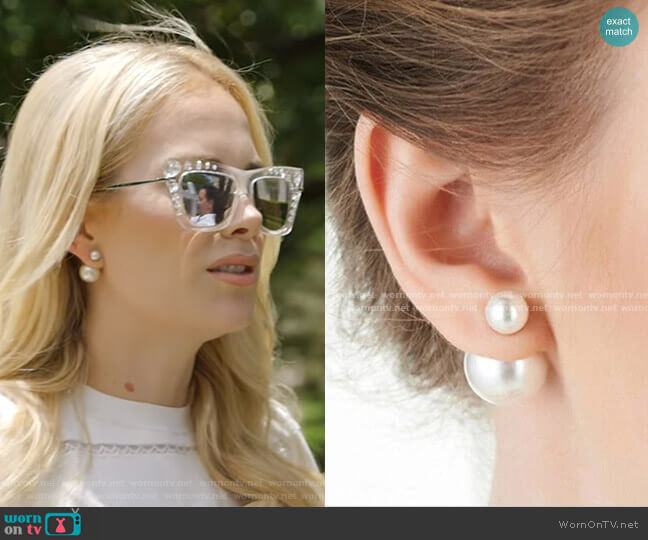 Double Pearl Stud Earrings by Sonja worn by Kameron Westcott  on The Real Housewives of Dallas