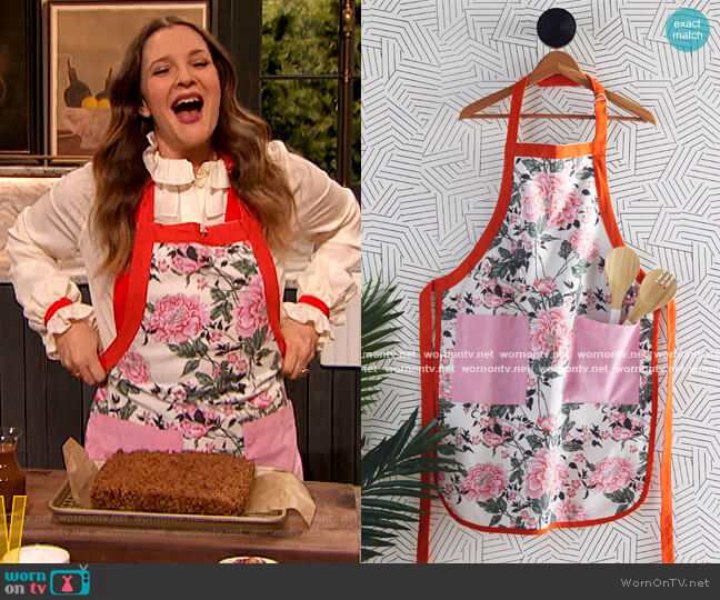 Vintage Floral Apron by Drew Barrymore Flower Home worn by Drew Barrymore  on The Drew Barrymore Show