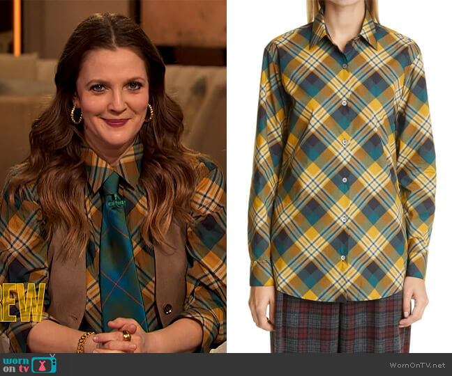 Plaid Cotton Shirt by Dries Van Noten worn by Drew Barrymore  on The Drew Barrymore Show