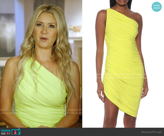 Diana Ruched One-Shoulder Dress by Norma Kamali worn by Kary Brittingham  on The Real Housewives of Dallas