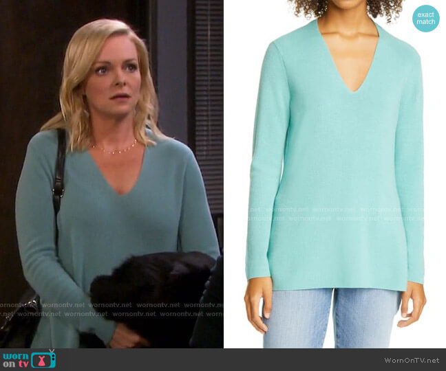 V-Neck Silk Tunic Top by Eileen Fisher worn by Belle Brady (Martha Madison) on Days of our Lives