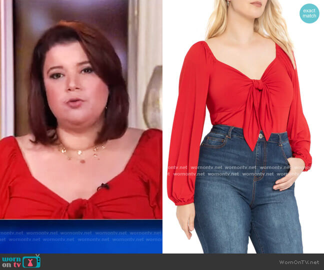 Sweetheart Puff Sleeve Top by Eloquii worn by Ana Navarro  on The View