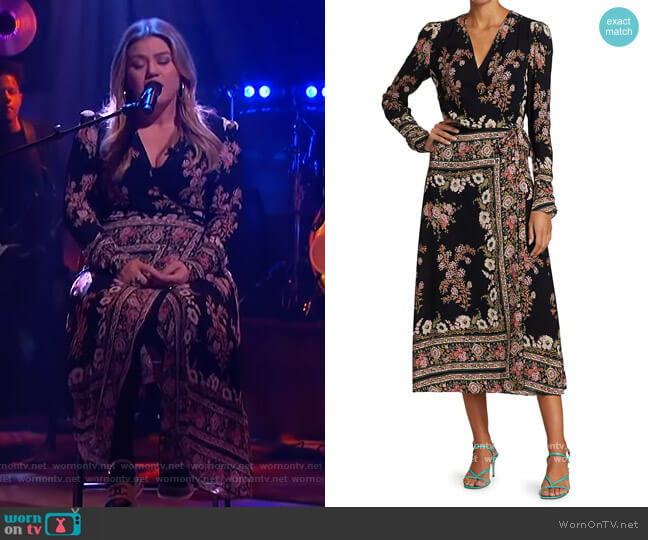 Hirzai Floral Wrap Midi Dress by Etro worn by Kelly Clarkson  on The Kelly Clarkson Show