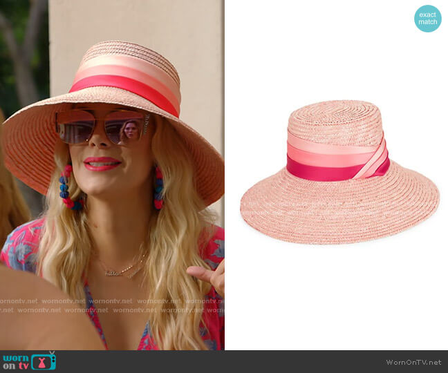 Annabelle Satin Ribbon Straw Sun Hat by Eugenia Kim worn by Kameron Westcott  on The Real Housewives of Dallas