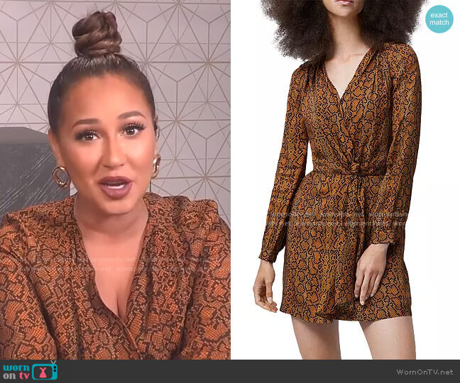 Erina Drape Knot Printed Dress by French Connection worn by Adrienne Houghton  on The Real