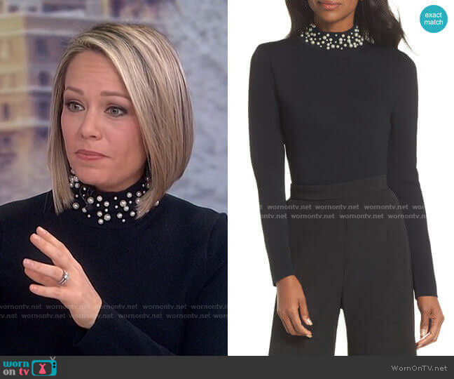 Faux Pearl Embellished Mock Neck Sweater by Eliza J worn by Dylan Dreyer  on Today