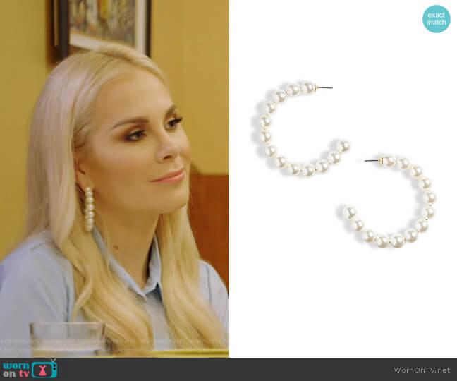 Stardust Imitation Pearl Hoop Earrings by Lele Sadoughi worn by Kameron Westcott  on The Real Housewives of Dallas