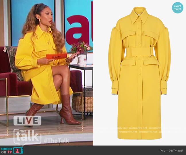 Yellow gabardine coat by Fendi worn by Elaine Welteroth  on The Talk