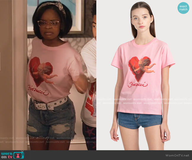 Heart & Cherub Shirt by Fiorucci worn by Diane Johnson (Marsai Martin) on Blackish
