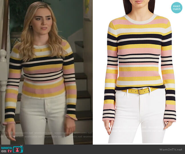 Baja Stripe Cotton & Cashmere Rib-Knit Sweater by Frame worn by Taylor Otto (Meg Donnelly) on American Housewife