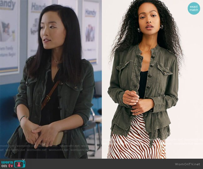 Emilia Jacket by Free People worn by Janet (Andrea Bang) on Kims Convenience
