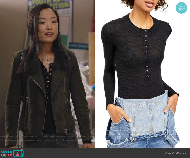 One of The Girls Henley Top by Free People worn by Janet (Andrea Bang) on Kims Convenience