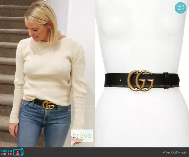 GG Logo Leather Belt by Gucci worn by Whitney Rose  on The Real Housewives of Salt Lake City