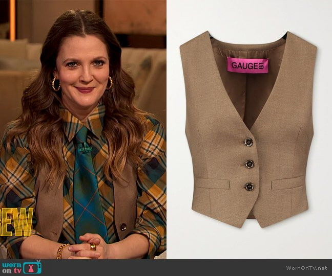 Toluca wool and cashmere-blend vest by Gauge81 worn by Drew Barrymore  on The Drew Barrymore Show