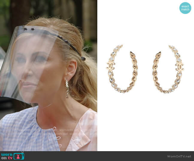 Gold Crystal Cc Hoop Earrings by Chanel worn by Stephanie Hollman  on The Real Housewives of Dallas