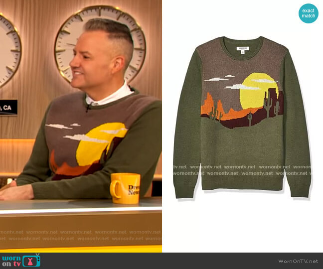 Soft Cotton Crewneck Sweater by Goodthreads worn by Ross Mathews on The Drew Barrymore Show