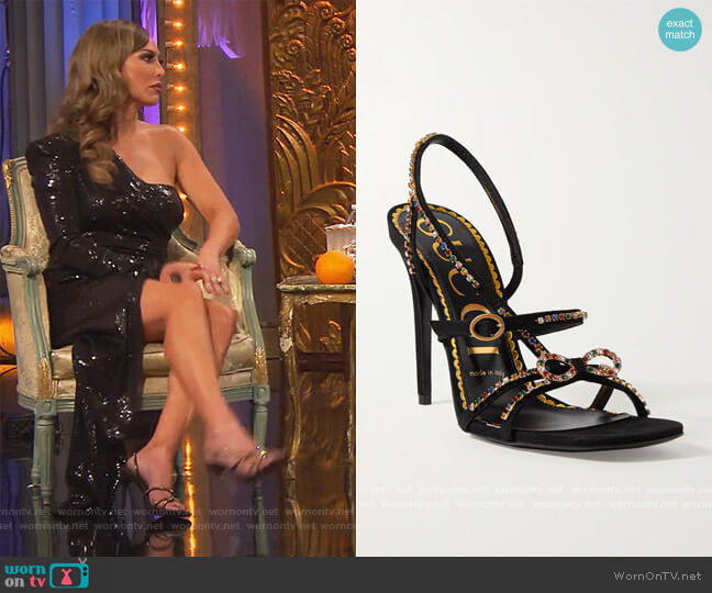 Carmen crystal-embellished suede sandals by Gucci worn by Kelly Dodd  on The Real Housewives of Orange County