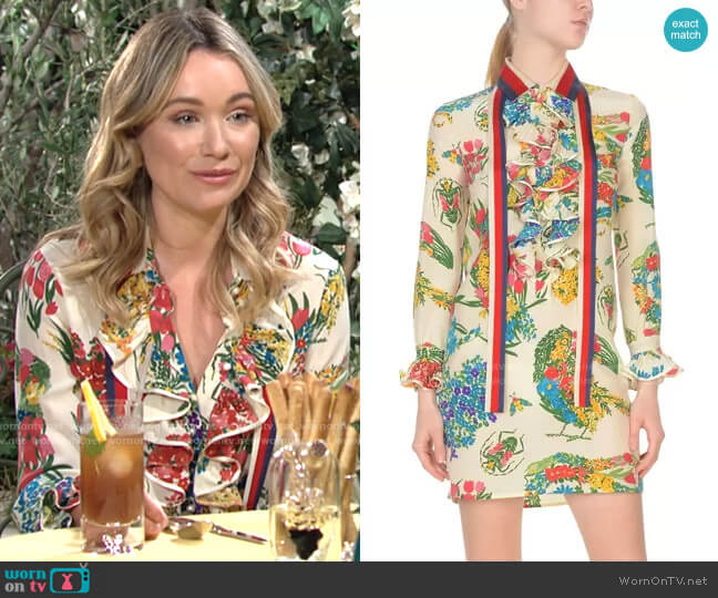 Gucci Floral Dress worn by Flo Fulton on The Young and the Restless