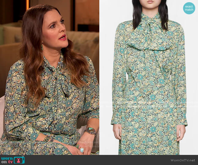 Liberty floral print blouse and skirt by Gucci worn by Drew Barrymore  on The Drew Barrymore Show
