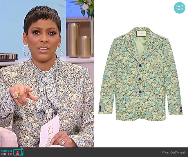 Liberty Floral Wool Jacket by Gucci worn by Tamron Hall  on Tamron Hall Show