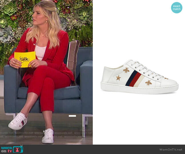 New Ace Sneakers With Bees And Stars by Gucci worn by Amanda Kloots  on The Talk