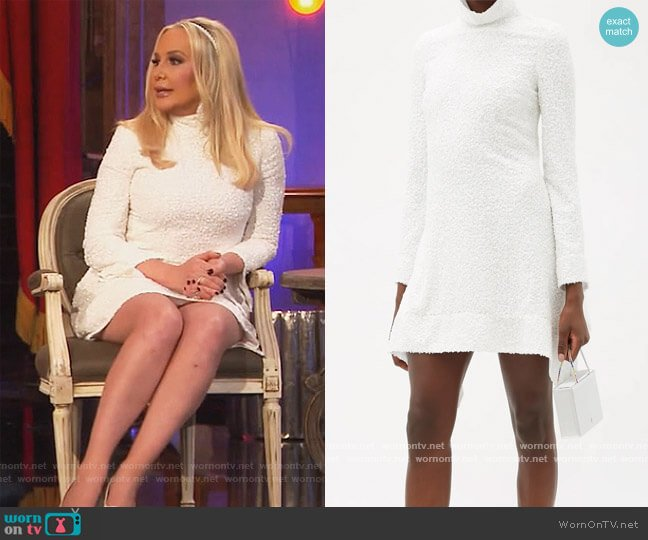 Sequinned bell-sleeved roll-neck mini dress by Halpern worn by Shannon Beador  on The Real Housewives of Orange County