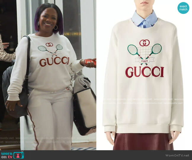 Heavy Felted Jersey Gucci Tennis Sweatshirt by Gucci worn by Kandi Burruss  on The Real Housewives of Atlanta