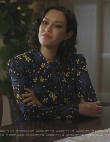 Hermosa's black floral mini dress on Riverdale