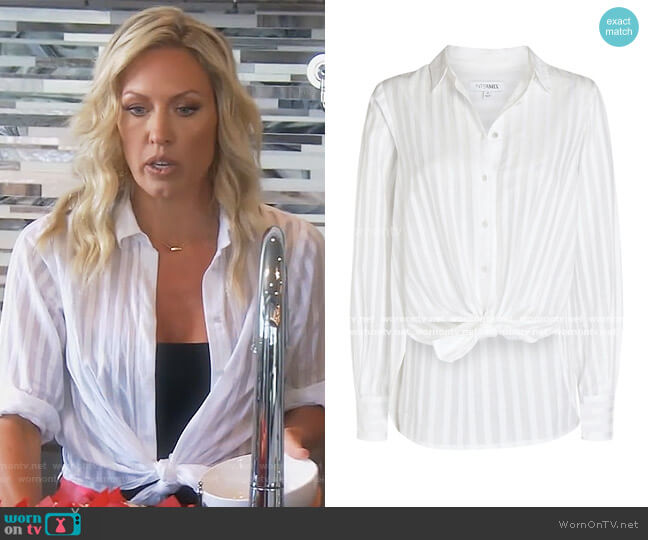 Gretchen Striped Button-Down Shirt by Intermix worn by Braunwyn Windham-Burke  on The Real Housewives of Orange County