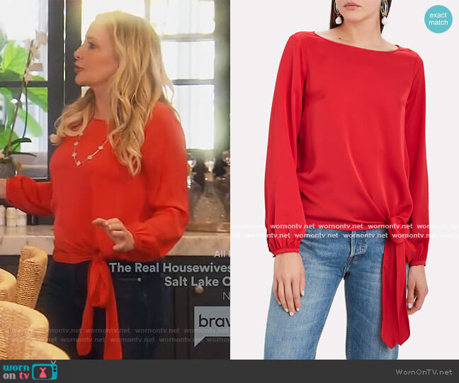 Kristy Knotted Silk Blouse by Intermix worn by Shannon Beador  on The Real Housewives of Orange County