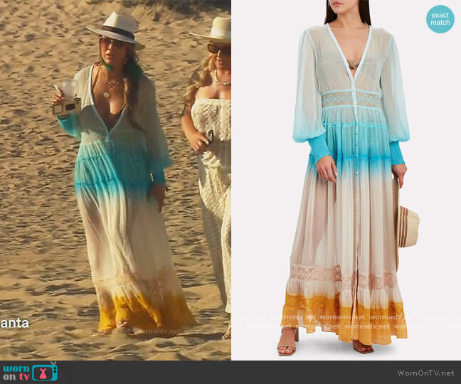 Ombré Chiffon Maxi Dress by Rococo Sand worn by Kelly Dodd  on The Real Housewives of Orange County
