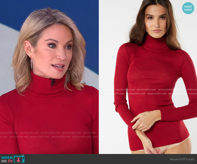 Wool and Silk Long-sleeve High-Neck Tubular Top by Intimissimi worn by Amy Robach  on Good Morning America