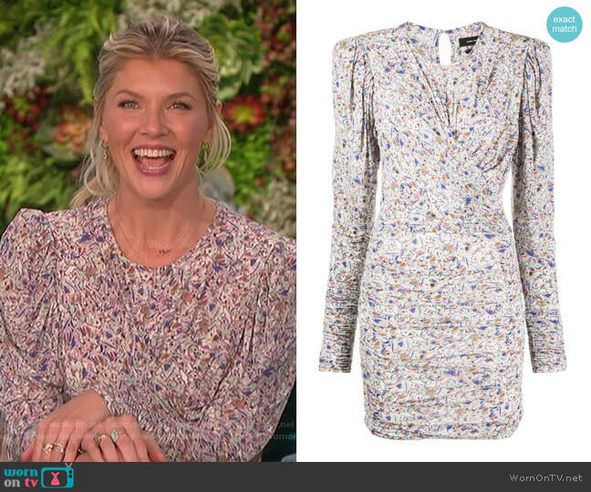 Abstract-print Ruched Dress by Isabel Marant worn by Amanda Kloots  on The Talk