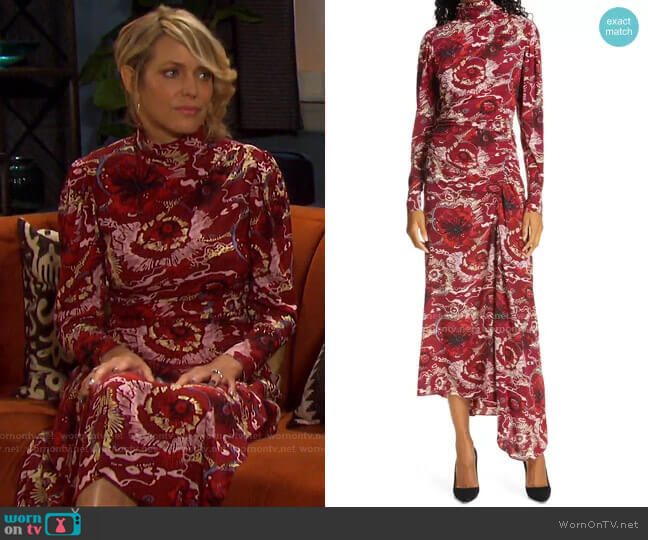 Isabella Floral Asymmetrical Maxi Dress by A.L.C. worn by Nicole Walker (Arianne Zucker) on Days of our Lives