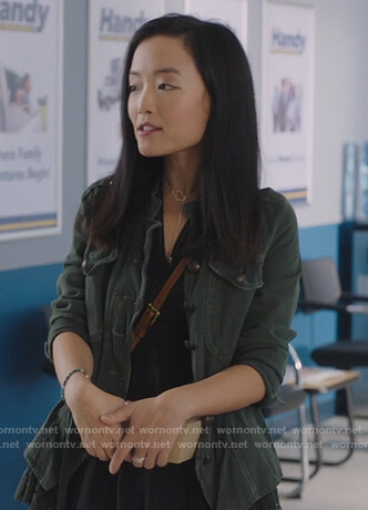 Janet's lace trim jacket on Kims Convenience