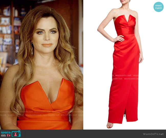 Darcy Strapless Satin Gown by Jay Godfrey worn by D'Andra Simmons  on The Real Housewives of Dallas