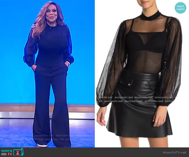 Mock Neck Balloon Sleeve Mesh Bodysuit by Jealous Tomato worn by Wendy Williams  on The Wendy Williams Show