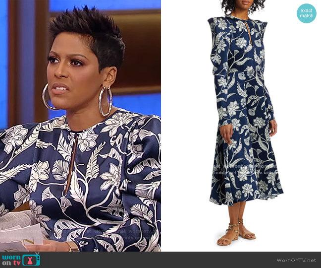 Wild Blue Wonder Silk Puff-Sleeve Midi Dress by Johanna Ortiz worn by Tamron Hall  on Tamron Hall Show