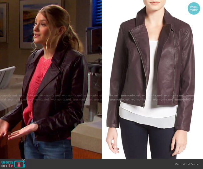 Joslyn Faux Leather Moto Jacket in Oxblood by Cupcakes and Cashmere worn by Alice Caroline Horton (Lindsay Arnold) on Days of our Lives