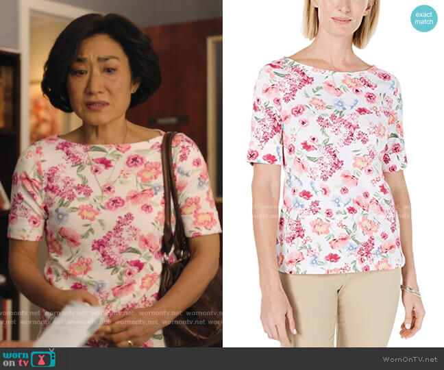 Floral-Print T-Shirt by Karen Scott worn by Mrs Kim (Jean Yoon) on Kims Convenience