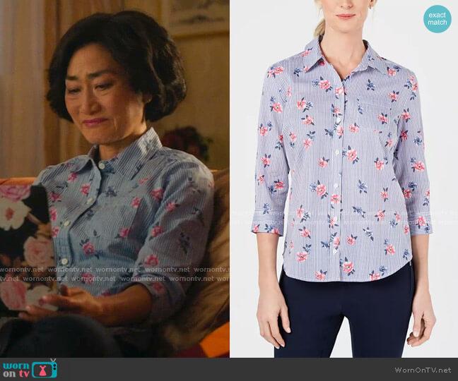 Francesca Floral Button-Up Shirt by Karen Scott worn by Mrs Kim (Jean Yoon) on Kims Convenience